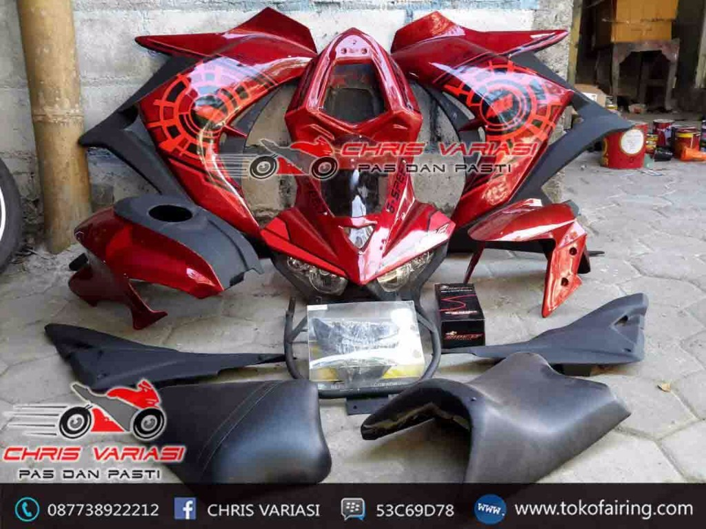 Full Fairing depan model r25 v1 mix body ninja fi warna Merah Transformer Cb 150r