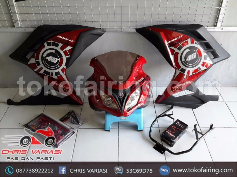 Full Fairing Ala Ninja Injeksi V2 Universal Red Techno