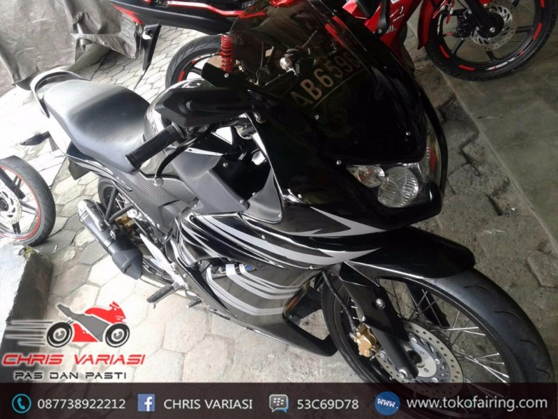Full Fairing Depan Ninja 250 on CB 150R old Hitam